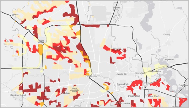 The Houston flood risk zones with the city boundary and evacuation routes