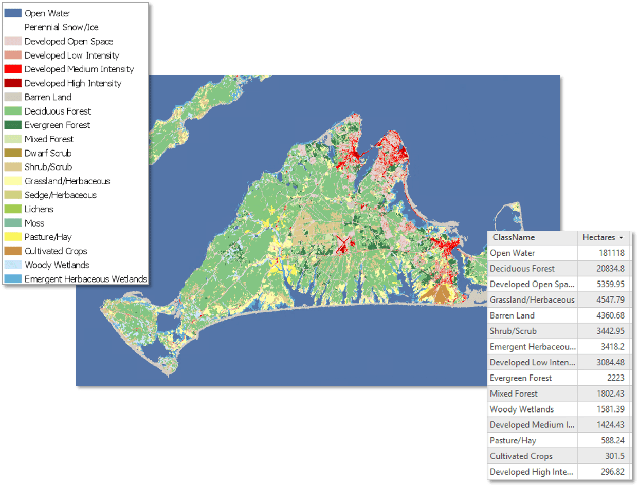 Land Cover Classification in Martha's Vineyard (NLCD 2011)