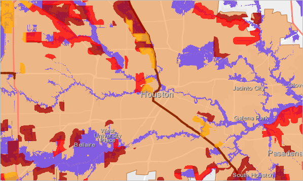 The medium to high risk flood areas