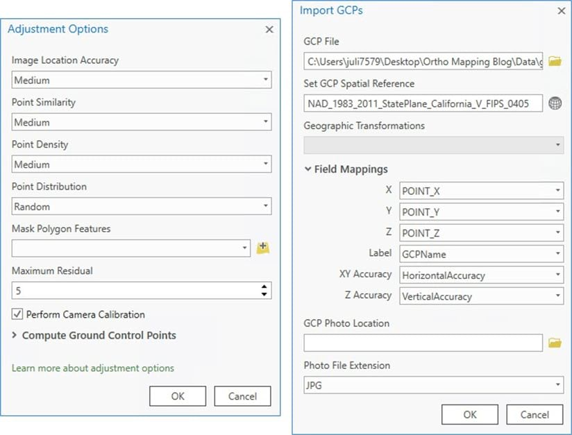 Ortho Mapping Adjustment Options and GCP Import