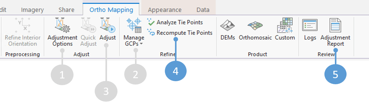 Analyze tie points and open the adjustment report