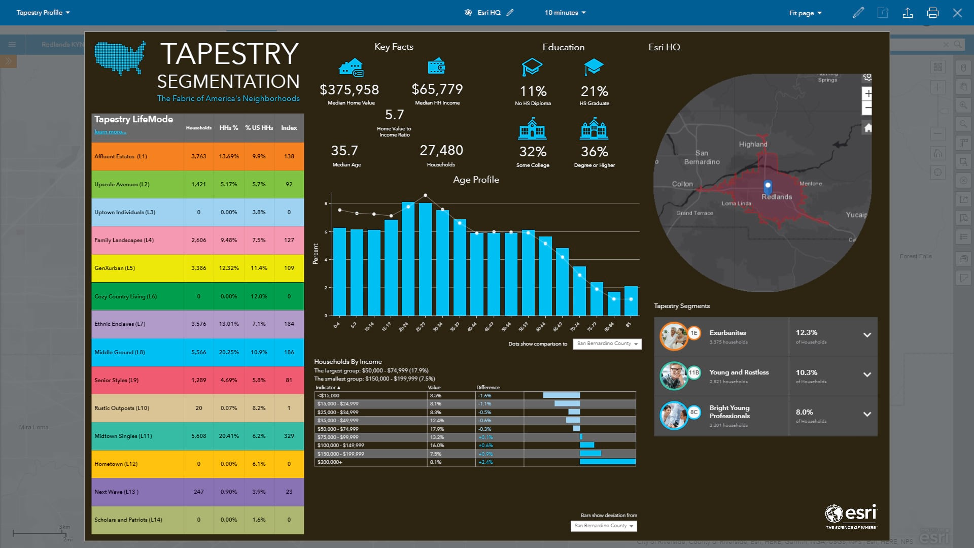 Esri's Template Tapestry Profile Infographic
