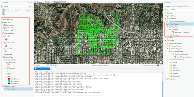 The finished ortho mapping workspace in ArcGIS Pro