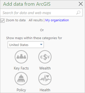 Add data from ArcGIS window