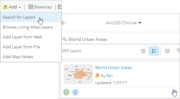 Search for a add the World Urban Areas layer to your map