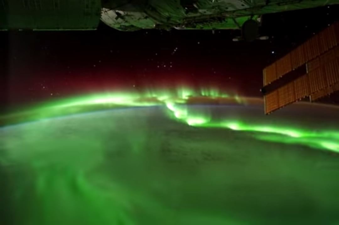 Actual footage of the Northern Lights from the International Space Station.