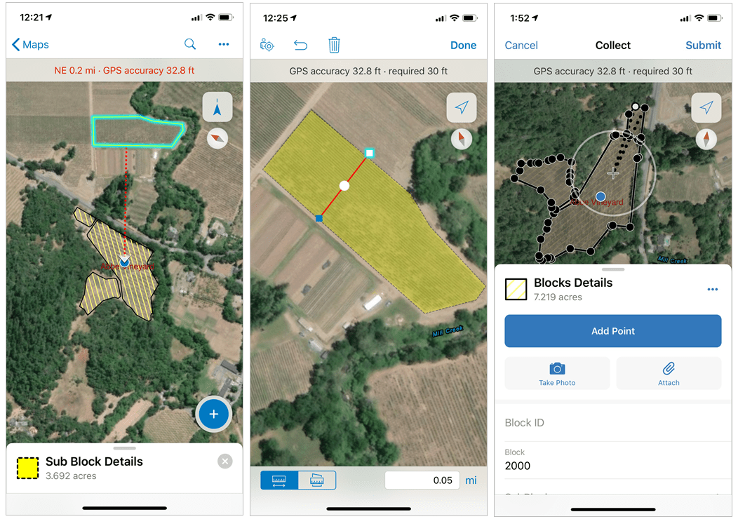 Measure and photo options in collector map