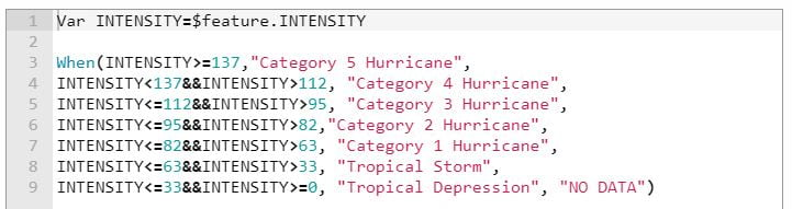 Screen Capture: Arcade Code for Assign Storm Tyre (Saffir) by Intensity