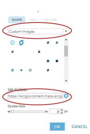 Screen Capture: Pasting link copied for the custom symbol