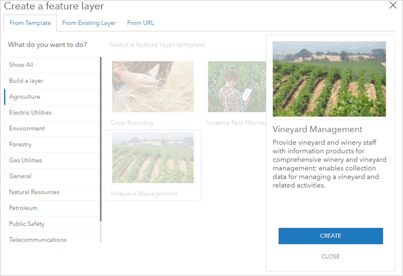 Vineyard Management selected from Agriculture template list