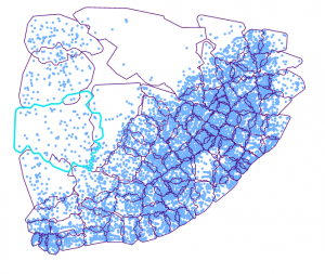 Figure 1: Overlapping subsetting polygon using EBK Regression Prediction, where the blue dots are the point location of rainfall stations and the selected polygon (cyan) shows the overlapping nature. The data for this analysis have been taken from [1].