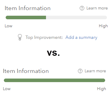 Comparing two scoring bars (found on Item Details page). On top, item information is low-to-medium. Below, item information is high.