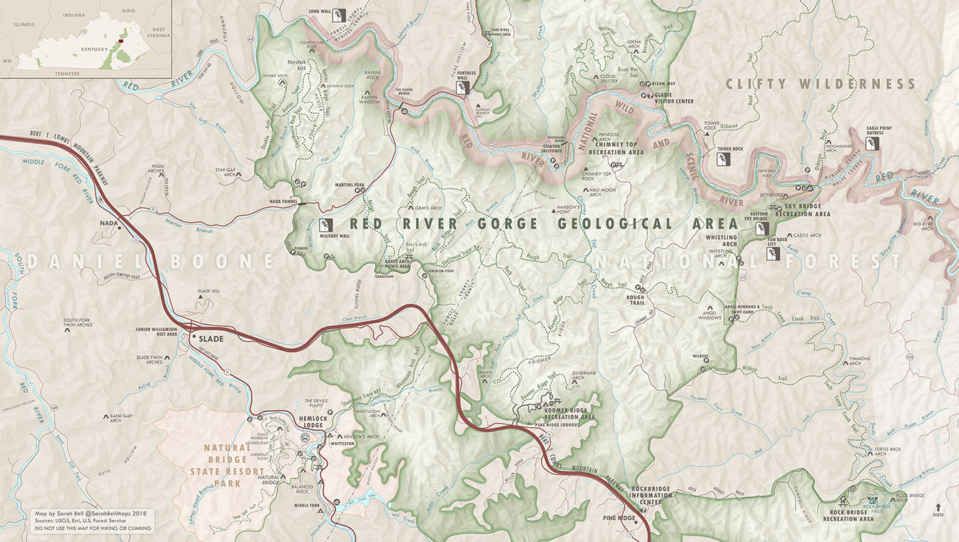 Overview recreation map of the Red River Gorge Geological Area, made with ArcGIS Maps for Adobe CC, Sarah Bell