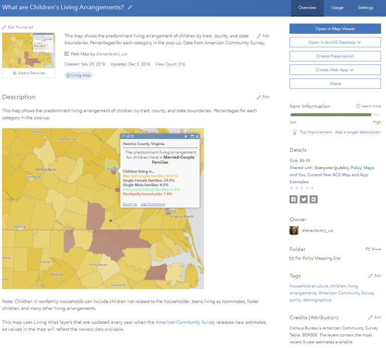 "Item Details page (Overview tab) of web map ""What are Children's Living Arrangements?"" with a picture of the map in the Description."
