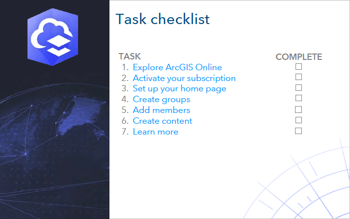 Task checklist for implementing ArcGIS Online
