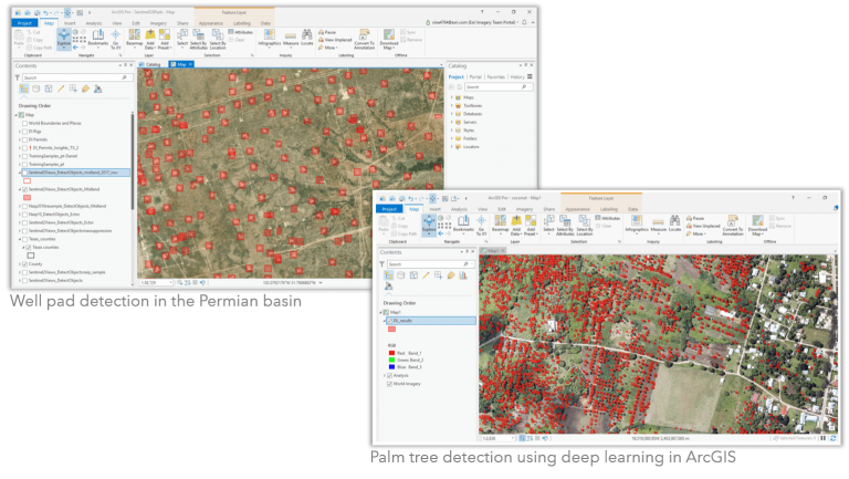 Well pad detection and palm tree detection using deep learning in ArcGIS