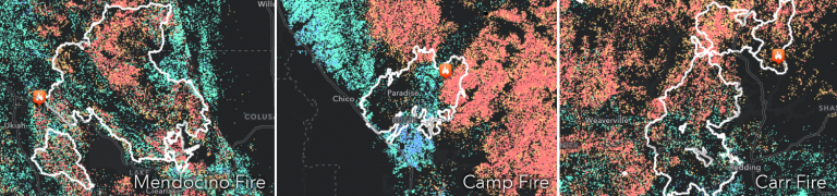 Fire perimeters from three California wildfires in 2018