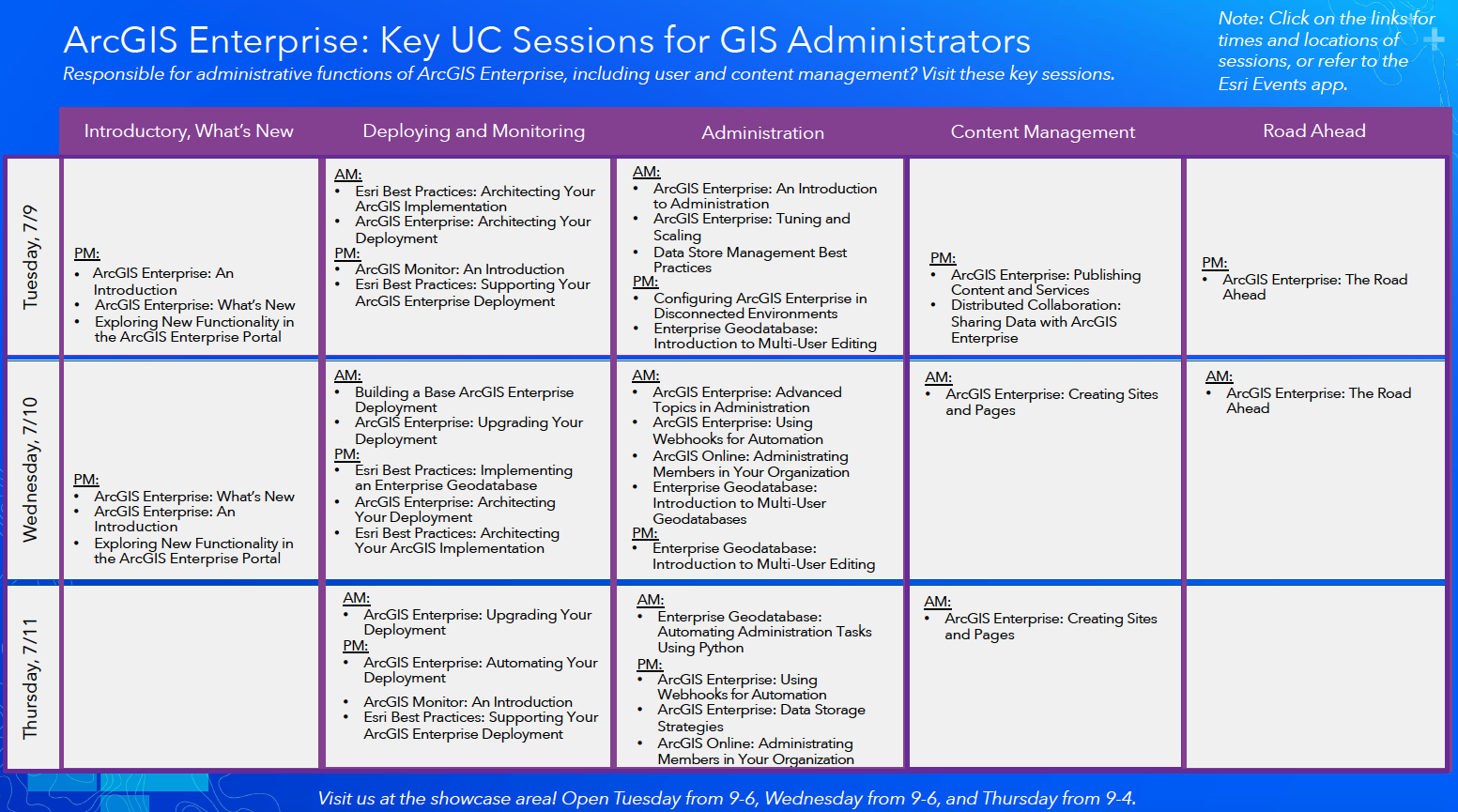 Come visit the ArcGIS Enterprise sessions at the Esri 2019 User Conference.