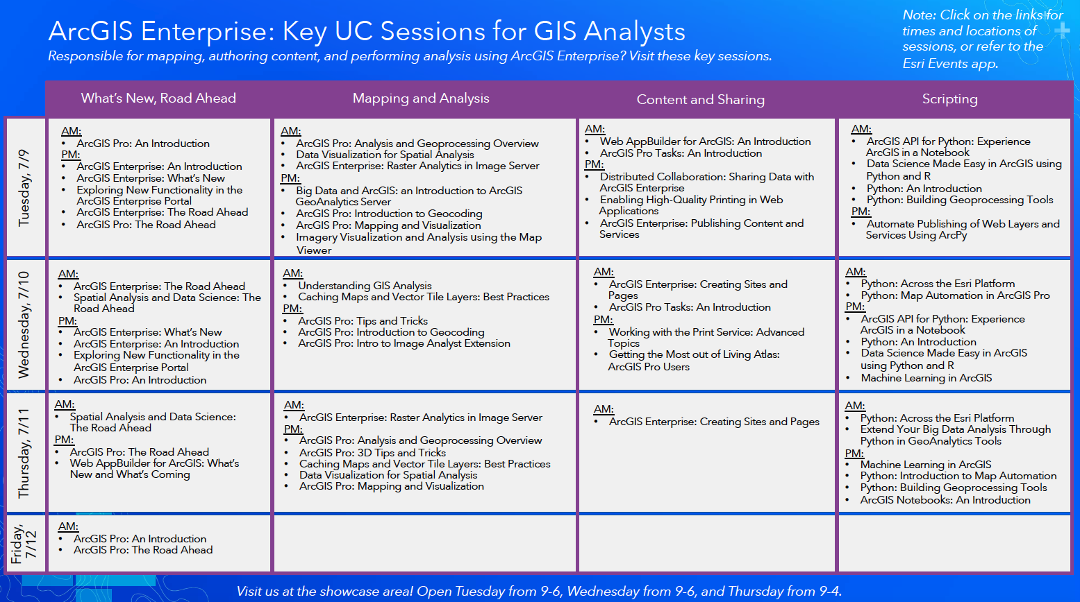 Come visit the ArcGIS Enterprise sessions at the 2019 Esri User Conference.