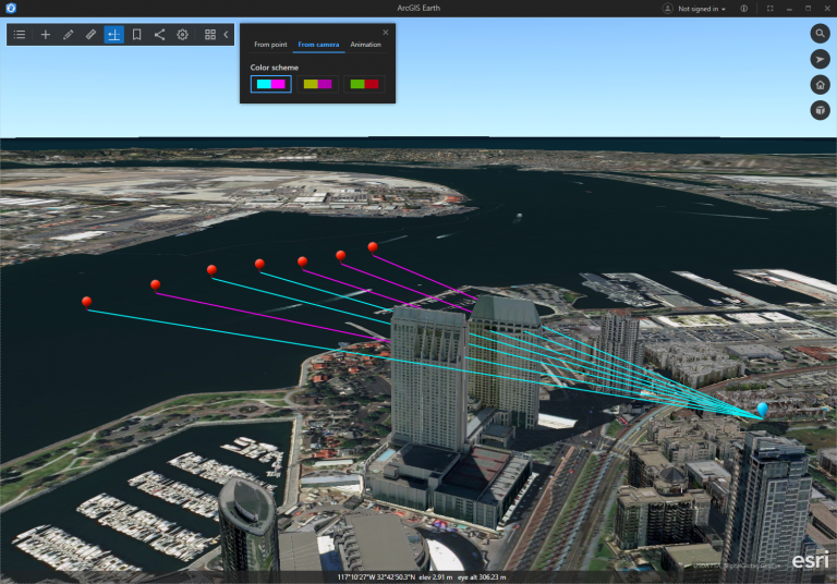 Perform line of sight analysis with one observer and multiple targets in ArcGIS Earth