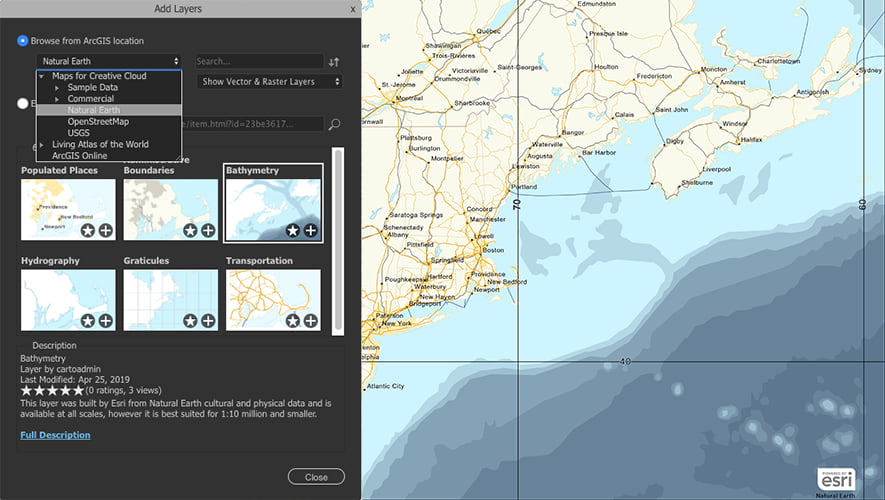 Adding layers in ArcGIS Maps for Adobe Creative Cloud.