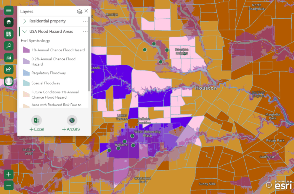 Map with flood hazard areas