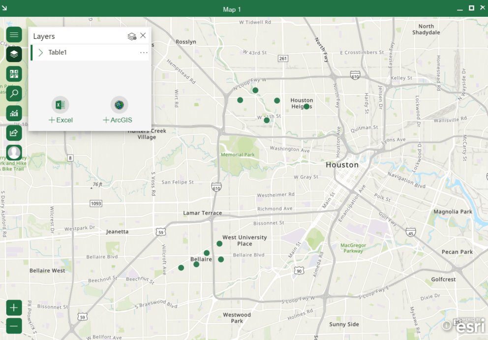 Map window in ArcGIS for Office