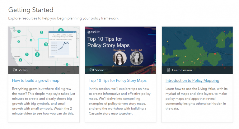 "Getting Started page with resources ""How to build a growth map,"" ""Top 10 Tips for Policy Story Maps,"" and ""Introduction to Policy Mapping."""