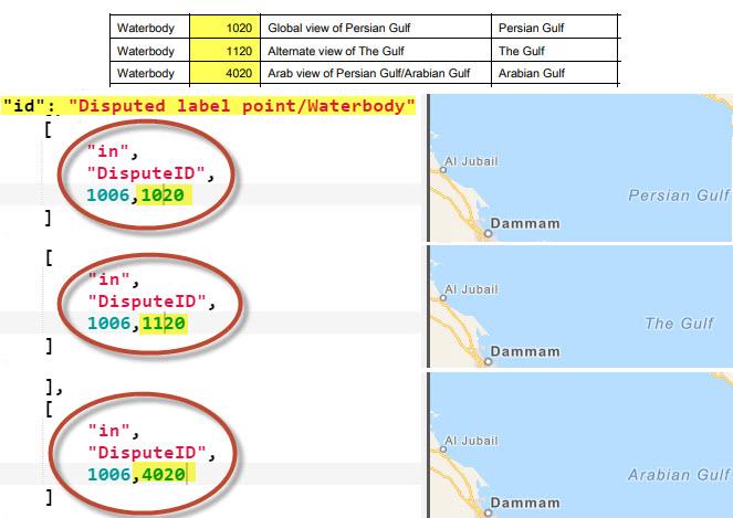 Esri vector basemaps disputed names