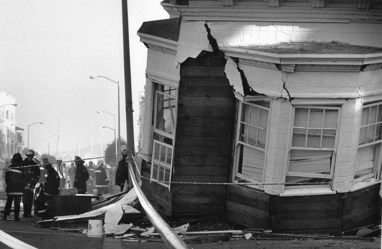 A home collapsed in San Francisco's Marina District a day after the 6.9 magnitude Loma Prieta earthquake struck the Bay Area in California on October 17, 1989.