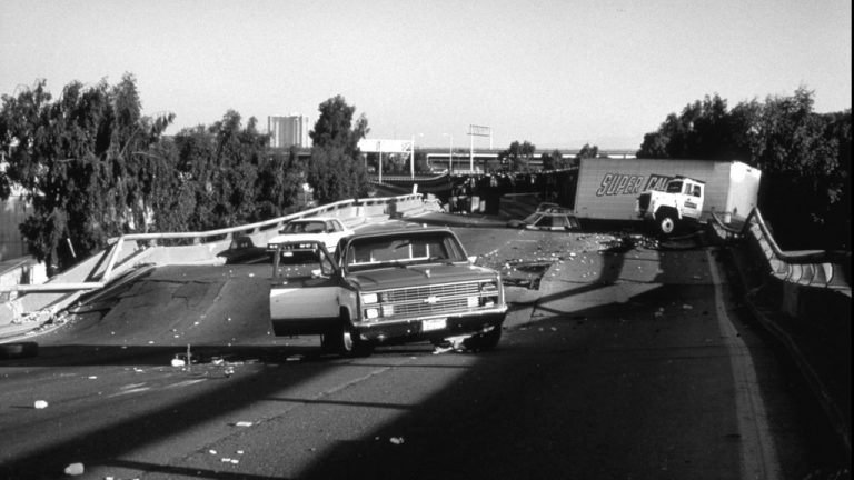 The top deck of the Nimitz Freeway in Oakland, California collapsed down onto the lower deck during the 1989 Loma Prieta earthquake.