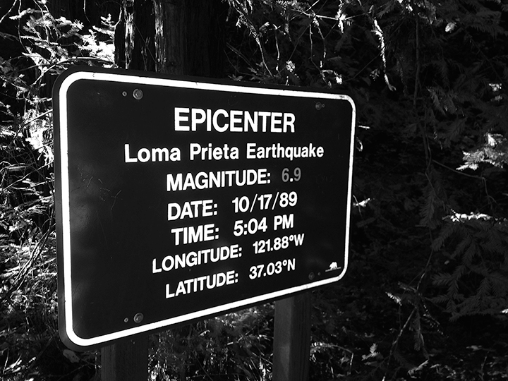 Picture of the sign at the epicenter of the Loma Prieta earthquake. A six-mile hike in Nisene Marks State Park will take you to the epicenter of the Loma Prieta earthquake.
