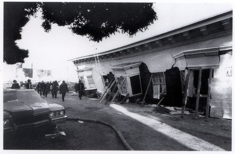 Damage to apartment building at Beach and Divisadero Streets in the San Francisco Marina District from the 1989 Loma Prieta Earthquake the week of October 17, 1989.