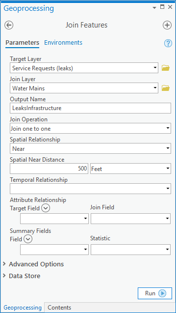 The join feature tool's parameters