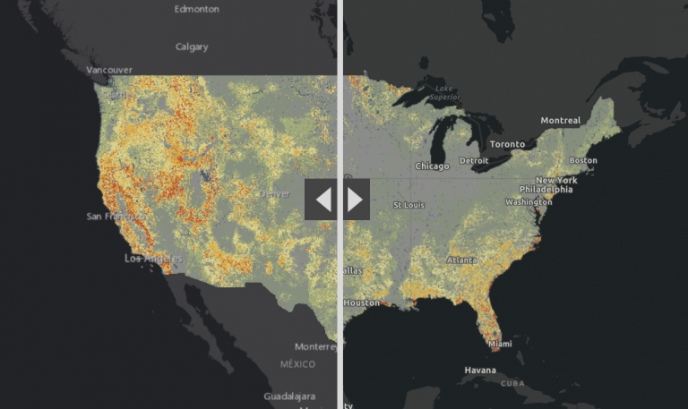 swipe tool to compare wildfire risk