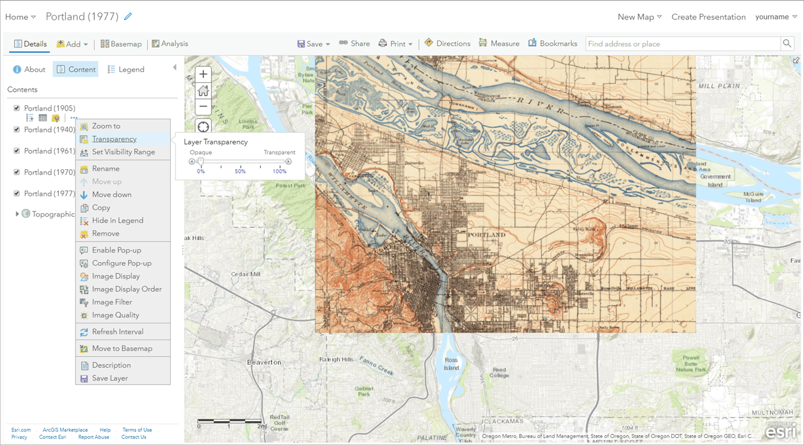 Topo Explorer app: Web Map