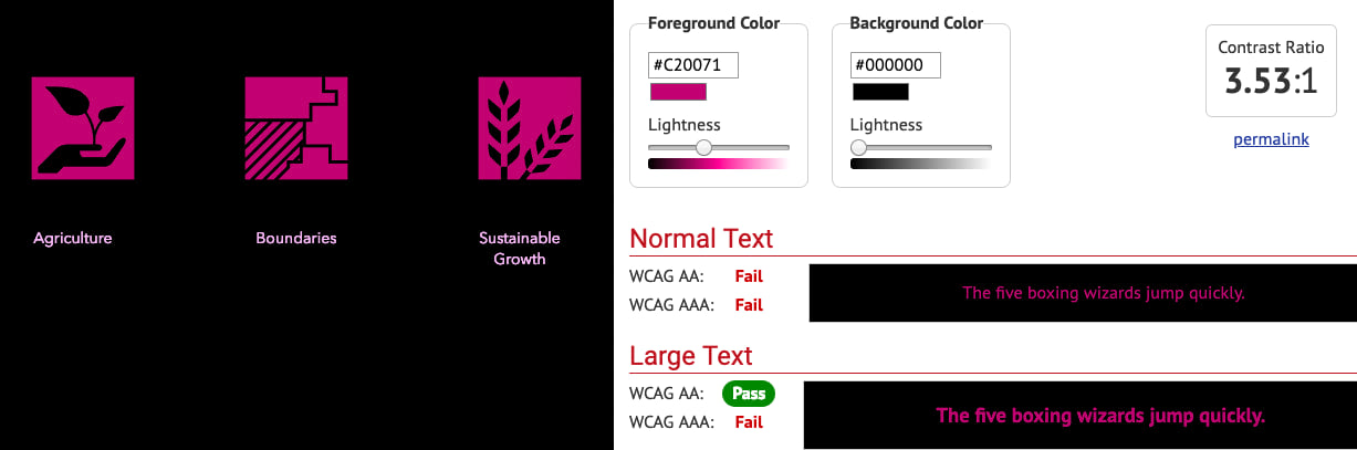 The WebAIM color contrast checker provides analysis on a bright pink category card and a black row card.