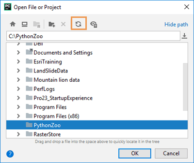 PyCharm Open window