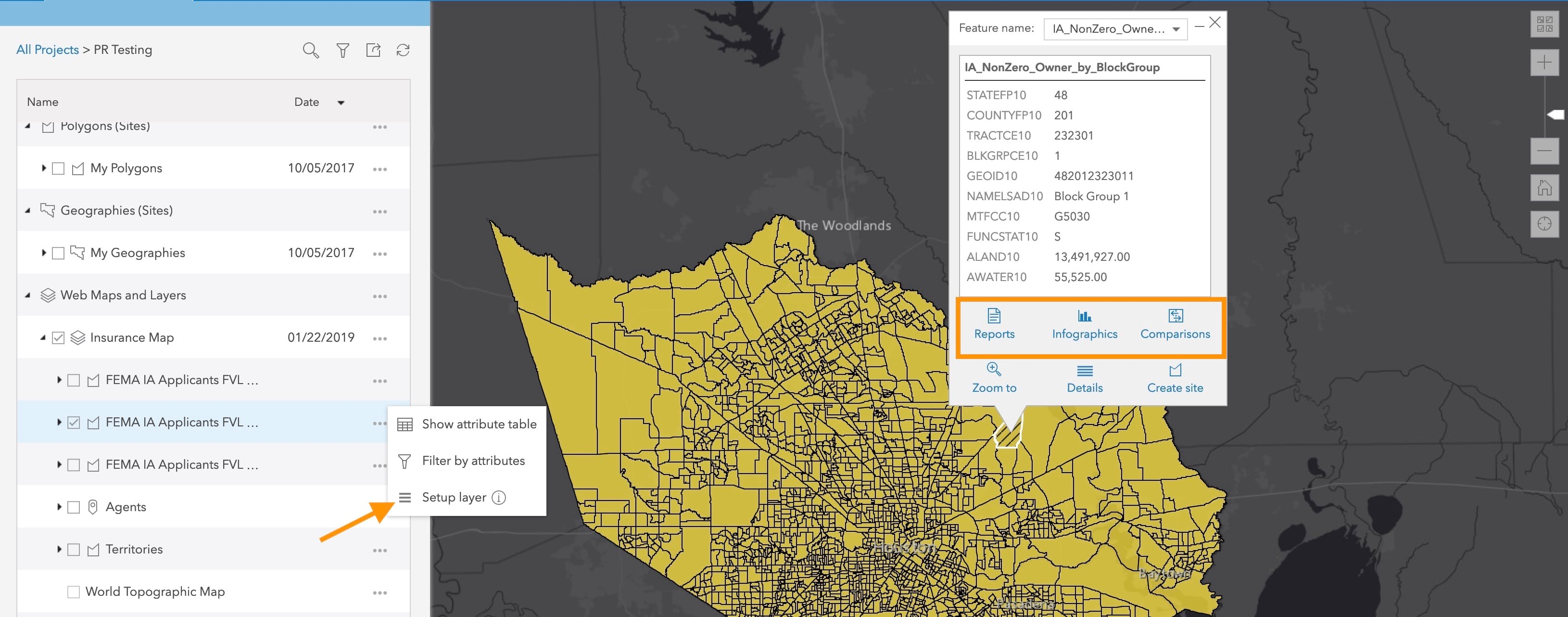 A black and gray basemap with a web layer from ArcGIS Online referenced in yellow.