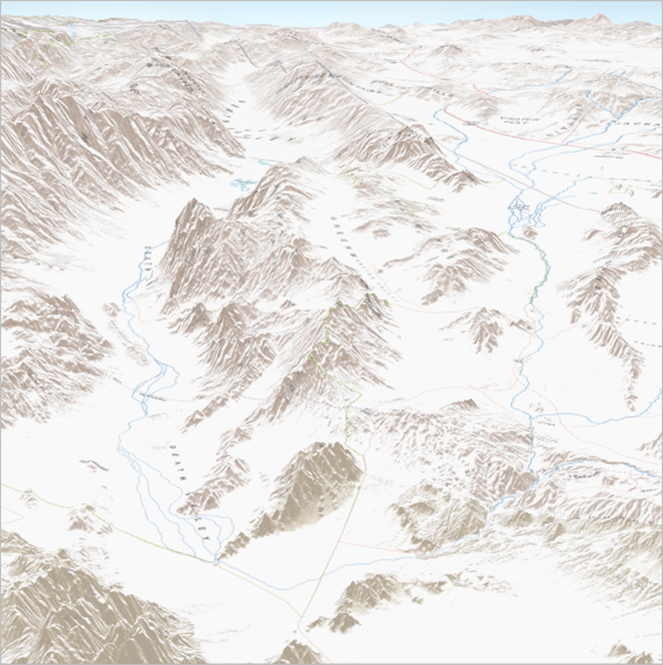Perspective view map with the terrain exaggerated to make the mountains look taller
