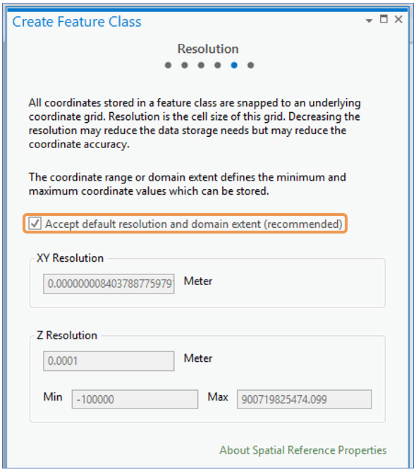 ArcGIS Pro Create Feature Class Wizard Resolution step