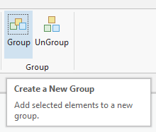 Location of Group button in the Group group. Other button is UnGroup.