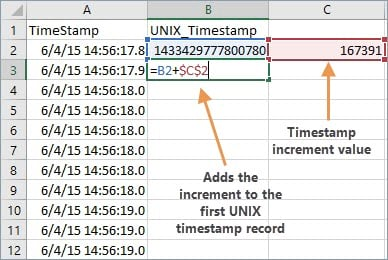 Start by calculating the UNIX timestamp of the second record