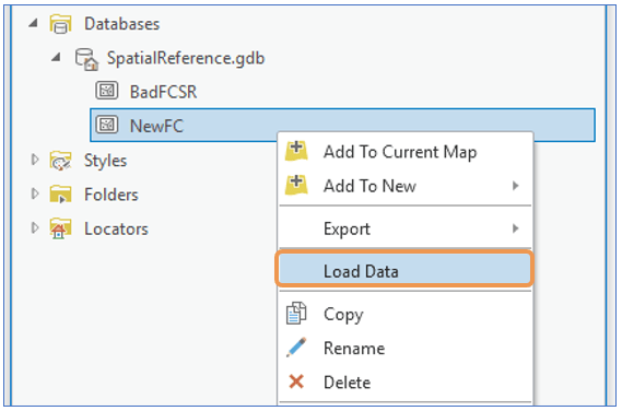 ArcGIS Pro Catalog Pane right-click feature class > Load Data