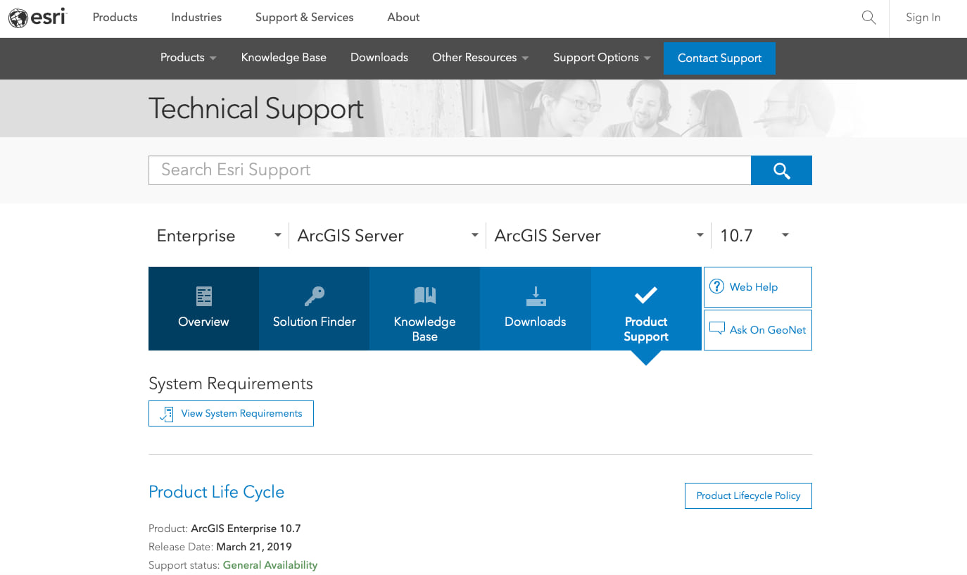 ArcGIS Enterprise product lifecycle support page