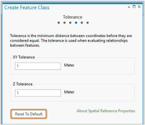 ArcGIS Pro Create Feature Class Wizard Tolerance step