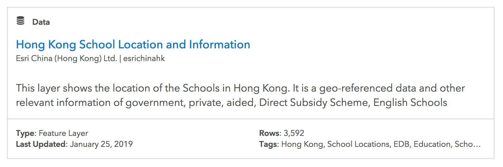 The search result related to Hong Kong schools.