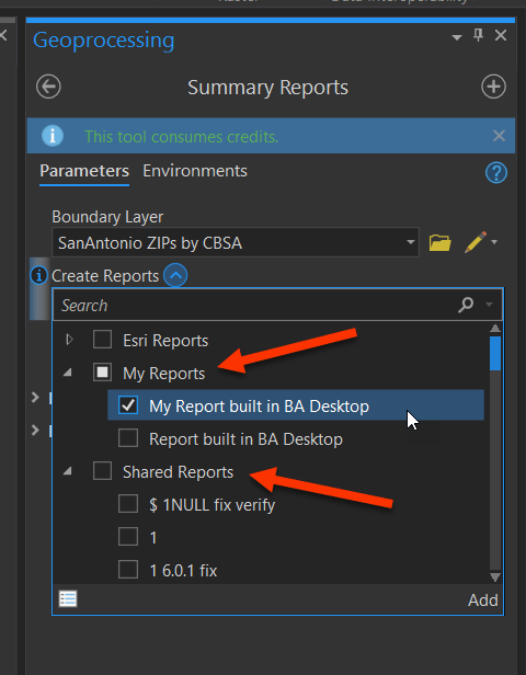 Available custom reports