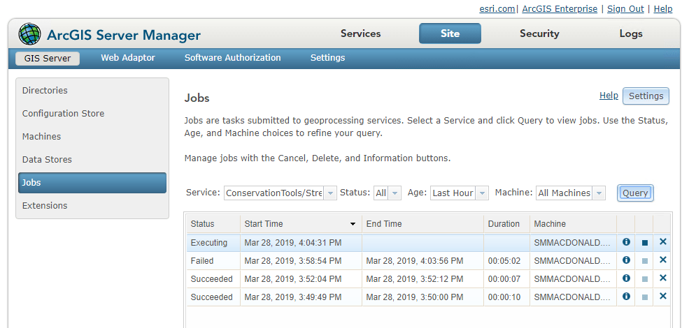 Geoprocessing jobs page in ArcGIS Server Manager