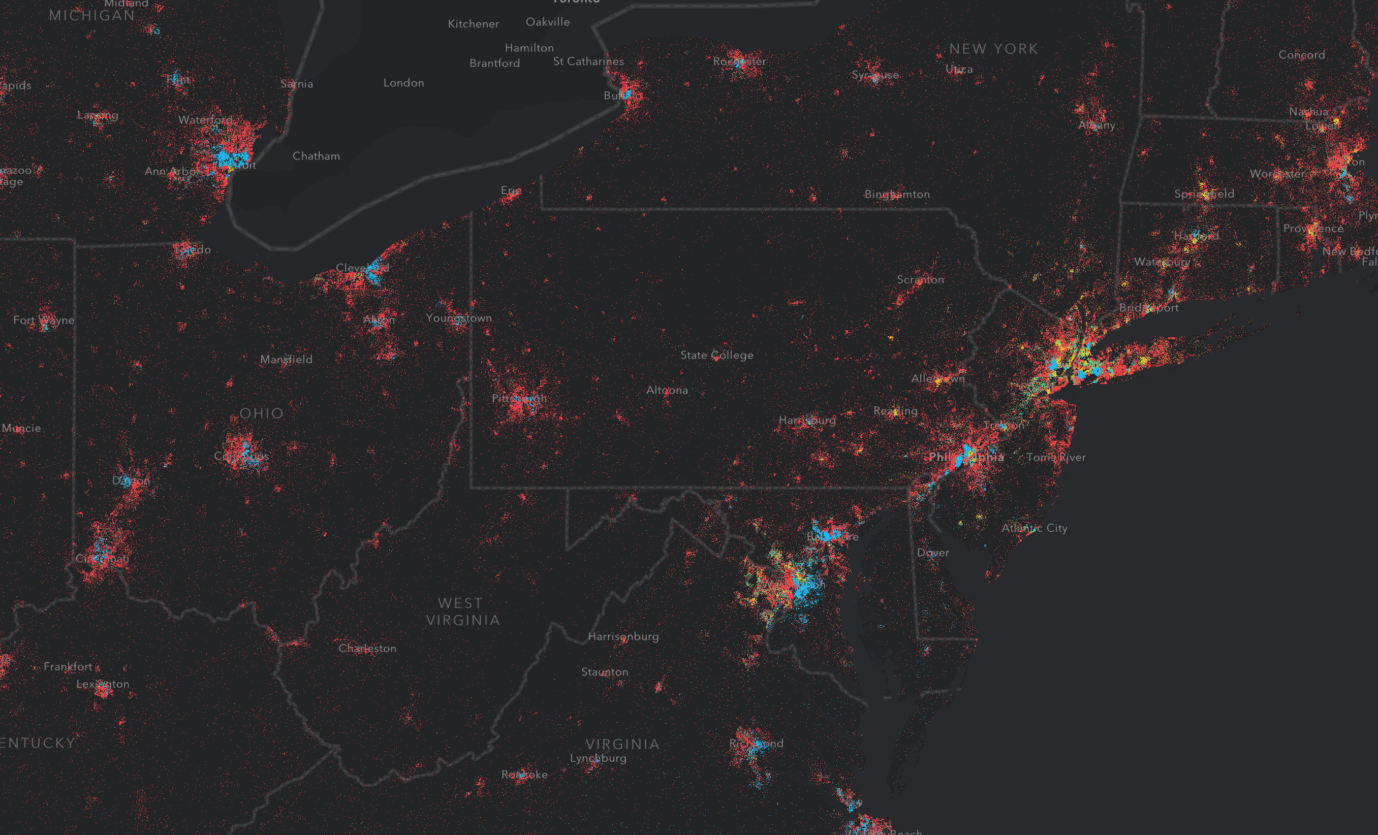 One dot represents 1600 people at a county scale.